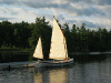 Ness Yawl at dock Sails up Profile view